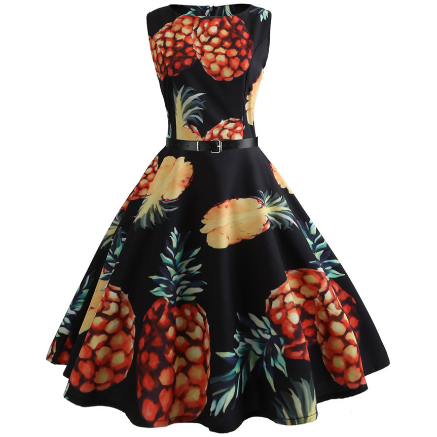 Chamsgend Brand New Pineapple Print Dress Women Retro Tunic Sleeveless A-Line Beach Party Dress Dec2
