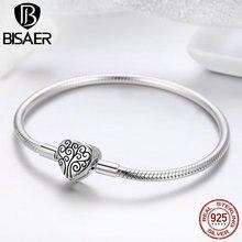 100% 925 Sterling Silber Familie Baum Des Lebens Schlange Kette Armbänder für Frauen Herz Pflastern Sterling Silber Armband Schmuck ECB066