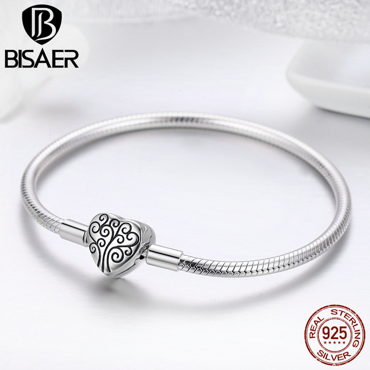 100% 925 Sterling Silver Family Tree Of Life Snake Chain  Bracelets for Women Heart Pave Sterling Silver Bracelet Jewelry  ECB066Charm Bracelets