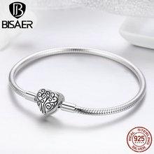 100% 925 Sterling Silver Family Tree Of Life Snake Chain Bracelets for Women Heart Pave Sterling Silver Bracelet Jewelry ECB066