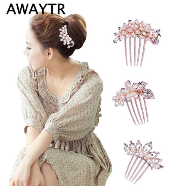 AWAYTR Elegant Peacock Rose Gold Pearls Hair Combs Rhinestones Flower Wedding Crystal Hair Clips Bridal Hair Accessories