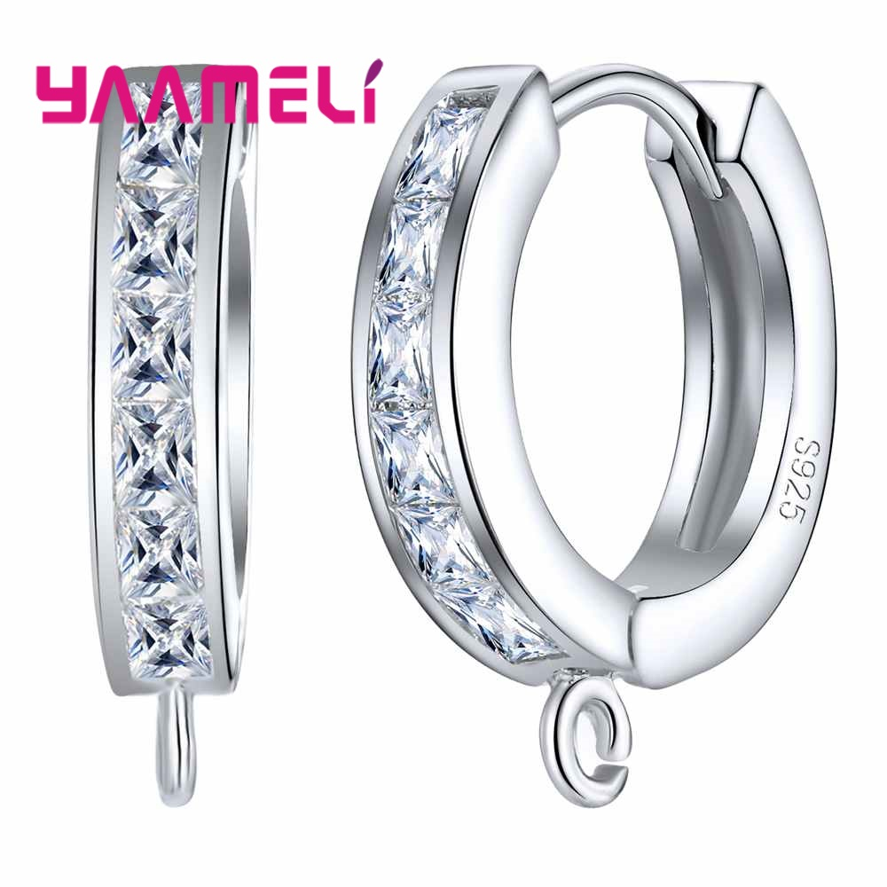 S925 Fashion Hoop Earrings 925 Sterling Silver Components Austrian Crystal DIY Making Jewelry Accessory Earwire Finding image