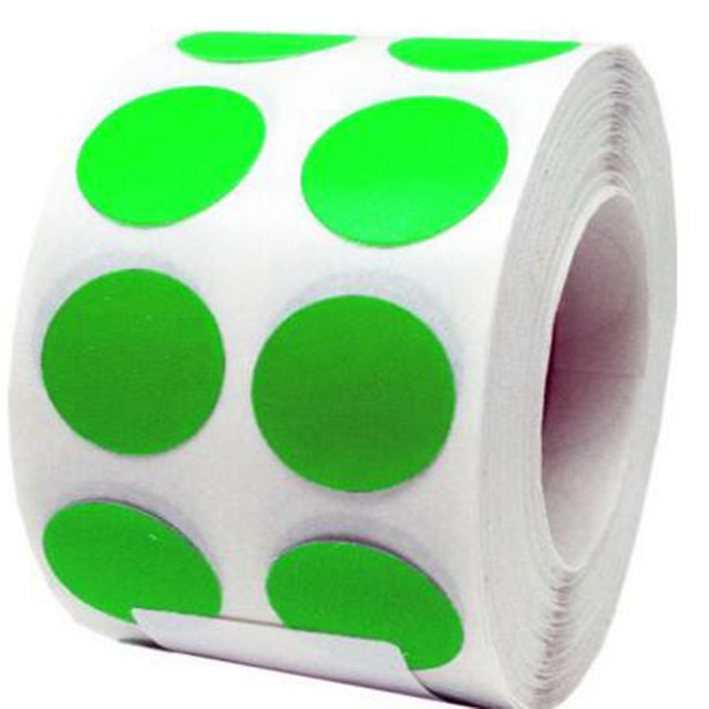 Fluorescent green color dots 1 sticky round labels premium round stickers peel and stick adhesive