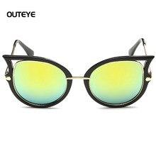 Outeye mujeres gafas de sol gafas de revestimiento reflectante espejo gafas de sol de la marca de metal gafas steampunk gafas de sol mujer w0
