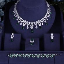 Jankelly Лидер продаж Африканский 4 шт. наборы свадебных ювелирных изделий Новая Мода Дубай цепочки и ожерелья для женщин Свадебная вечерин