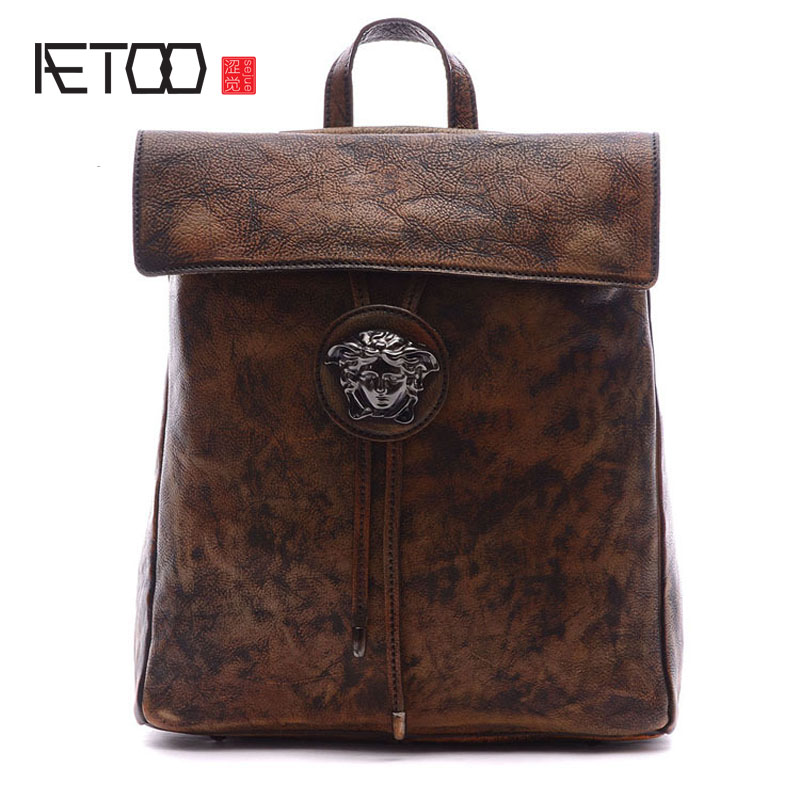 AETOO Men and women common retro handmade backpack dual-use color to do the old Backpack  ben juratowitch retroactivity and the common law