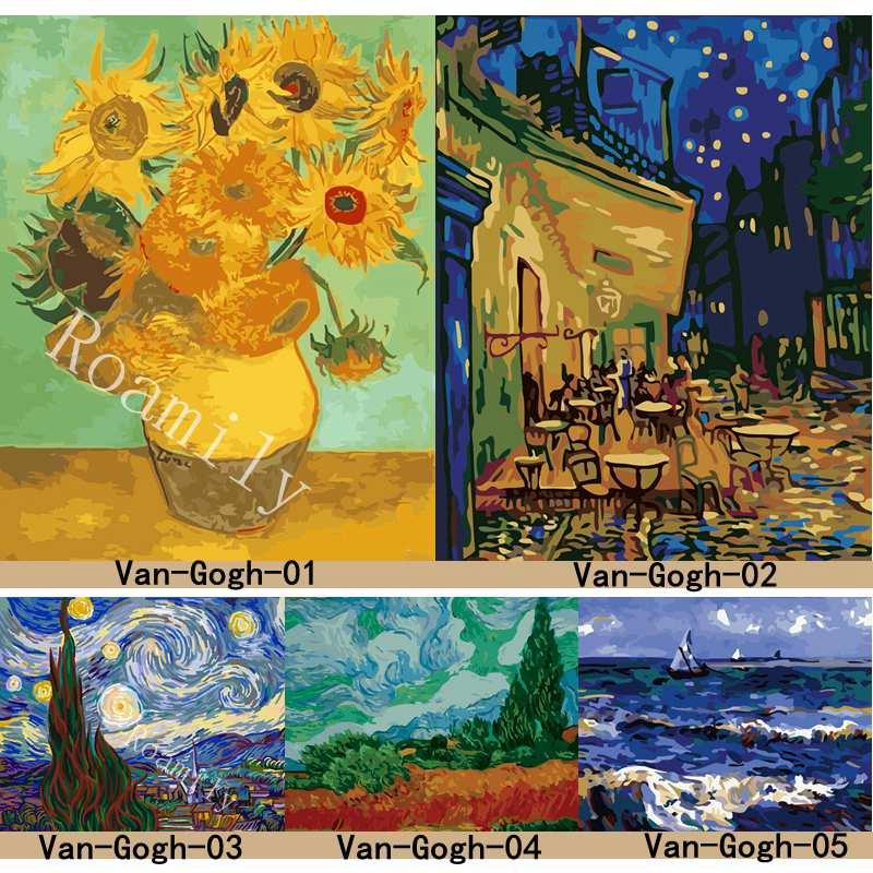 ROAMILY, Malen Nach Zahlen, Van Gogh Serie Berühmte Ölgemälde Sonnenblumen, Starry Night, Abstrakte DIY Öl malerei Acrylfarbe