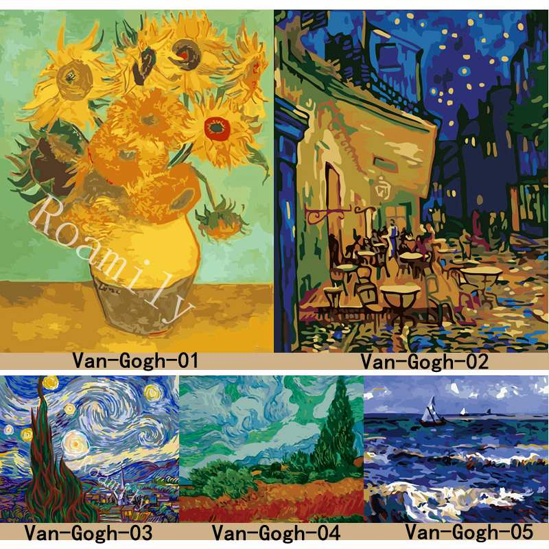 ROAMILY,Painting By Numbers,Van Gogh Series Famous Oil Painting Sunflowers,Starry Night,Abstract DIY Oil Painting Acrylic Paint