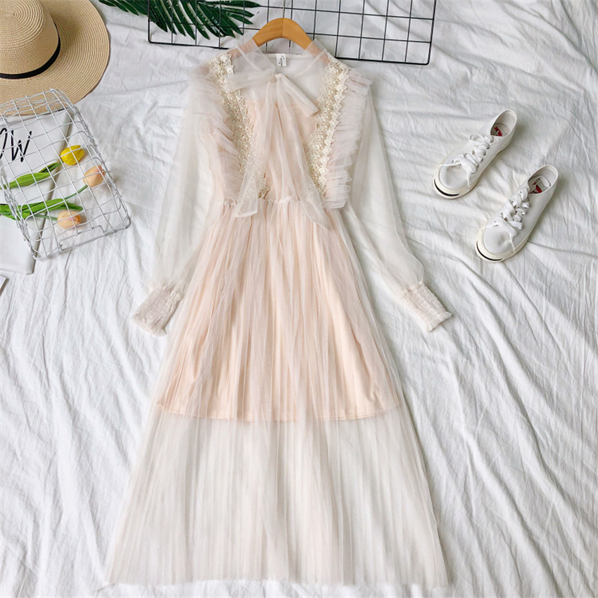 Gowyimmes 2019 Spring Two Pieces Elegant women Bow Tie Long sleeve Mesh dress+ Vest Midi Long Beading Lace dressess vestidos 237 3