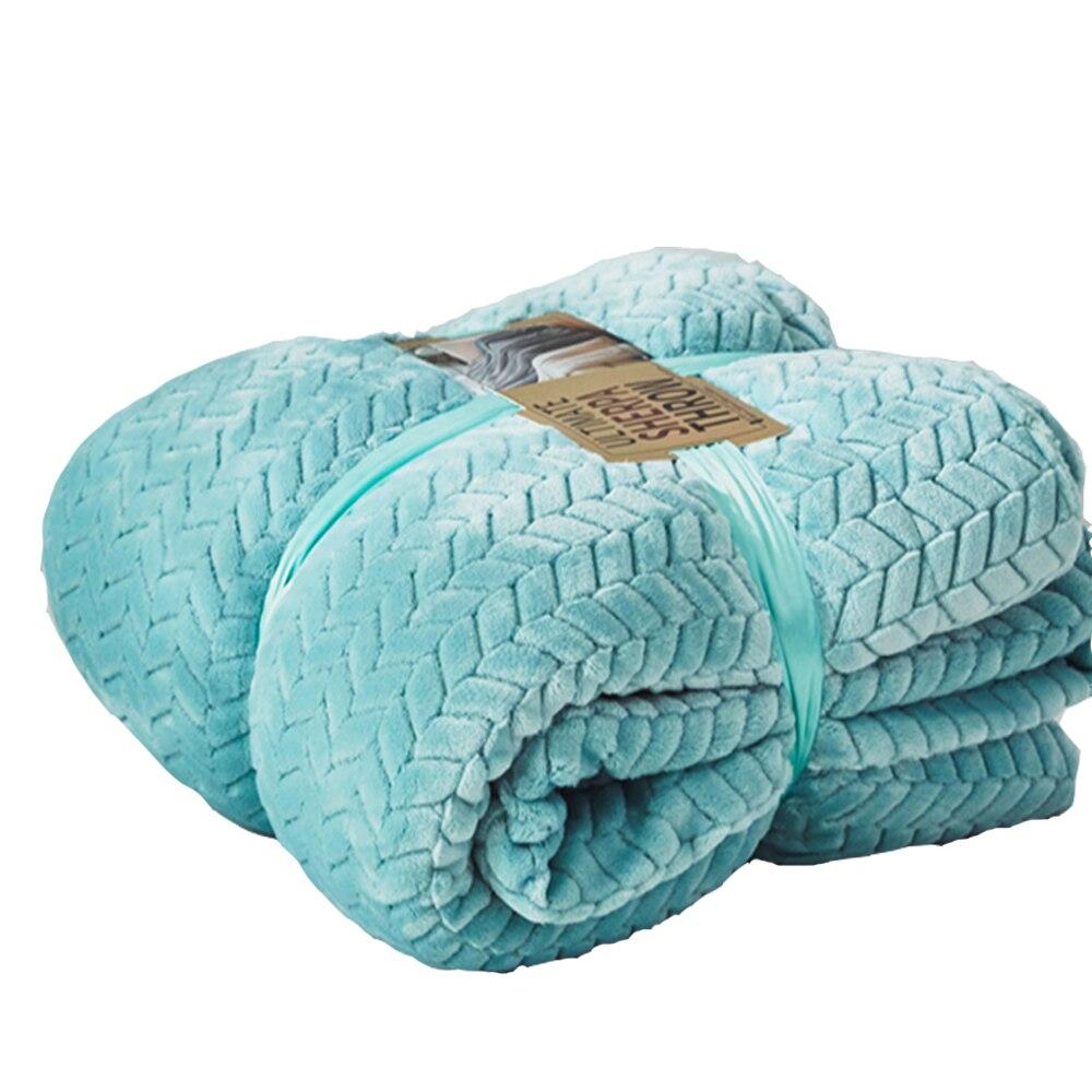 Haute Qualité Flanelle Polyester fourrure synthétique jeter Vison Polaire Lit Chaud Couverture Turquoise