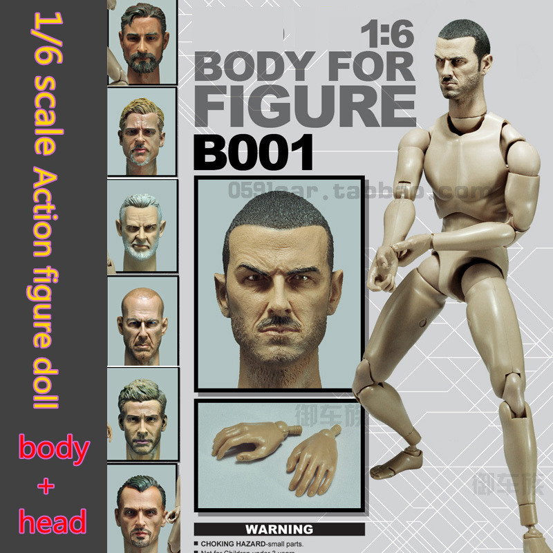 1/6 scale figure accessories doll body for 12 action figure doll  Male body with head 1 6 scale nude male body figure muscle man soldier model toys for 12 action figure doll accessories