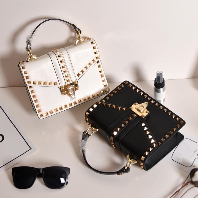 2017 New Winter Handbags Women Genuine Leather Rivet Messenger Bag Crossbody Tote Handbag Ladies Hand Bags Fabric Shoulder Strap
