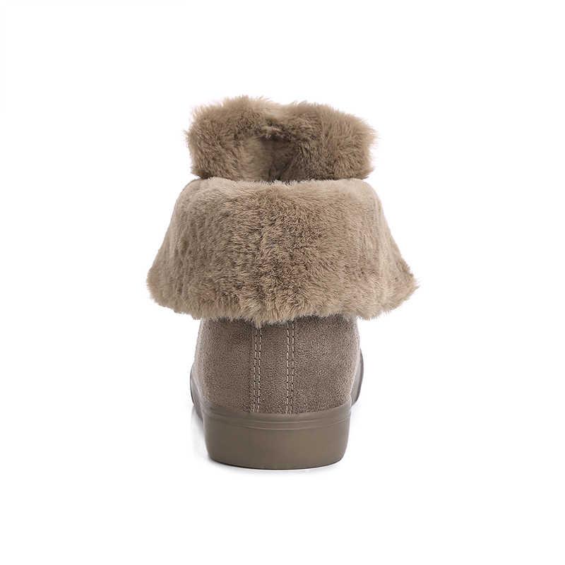 Kadın kış ayakkabı kadın yarım çizmeler yeni siyah gri haki renk moda rahat moda düz sıcak kadın kar botları
