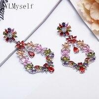 Charming 66 mm long drop earrings multi cubic zirconia crystal jewelry women's flower jewellery large earring