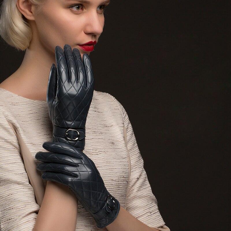 BOOUNI 정품 가죽 장갑 여성 패션 격자 무늬 진짜 양피 - 의류 액세서리 - 사진 6