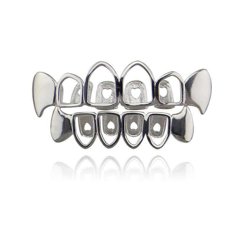 Usine bas prix creux Grillz mode corps bijoux Hip Hop dents Grillz couleur argent dent grilles Cap bouche accessoires