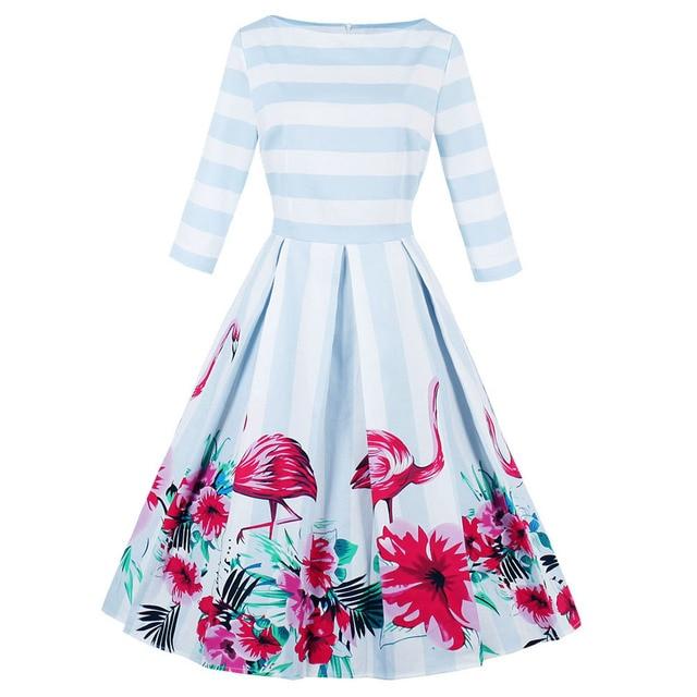 5c91cbe3783 Wipalo Flamingo Print Women Vintage Dress Audrey Hepburn Robe Retro  Rockabilly Autumn Stripe Party Dresses Tunic Vestido