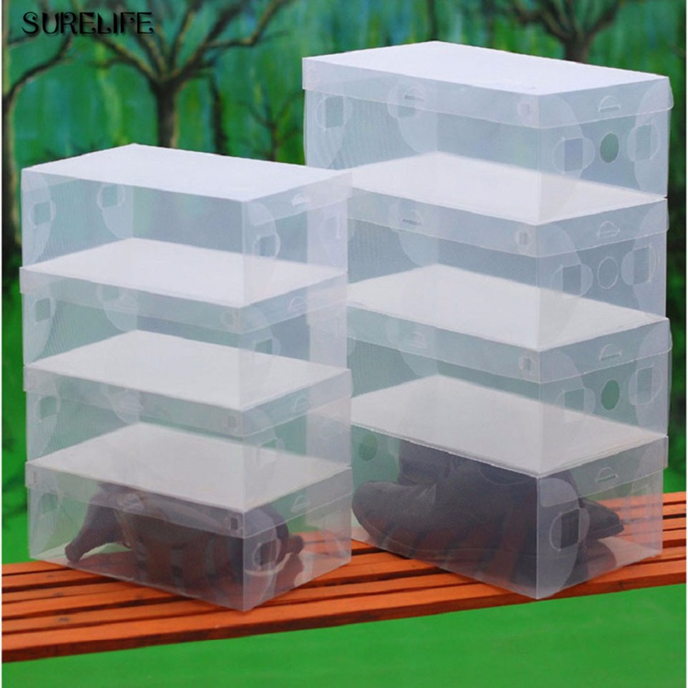 12pcs Children/women/men Transparent Makeup Organizer Clear Plastic Shoes Storage Boxes Foldable Shoes Case Holder Do You Want To Buy Some Chinese Native Produce? Shoe Racks & Organizers