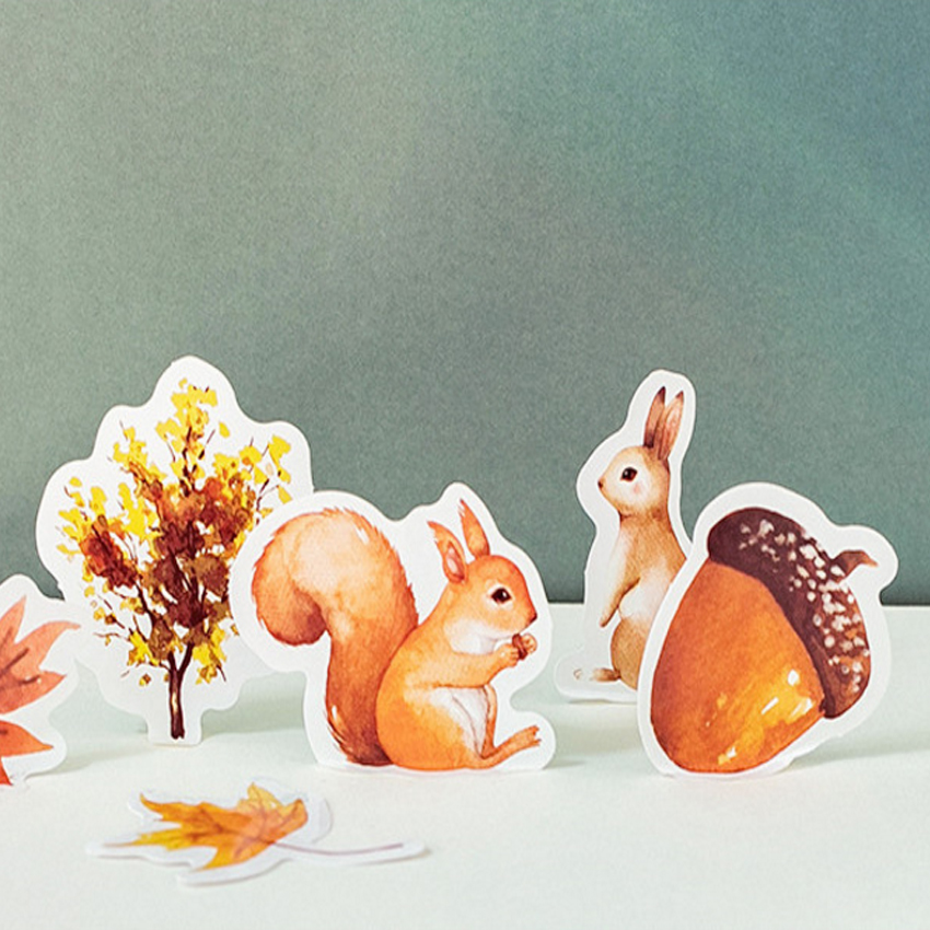 Купить с кэшбэком 46pcs/pack lovely autumn forest animal paper adhesive decorative scrapbooking sticker children dairy sticker stationery