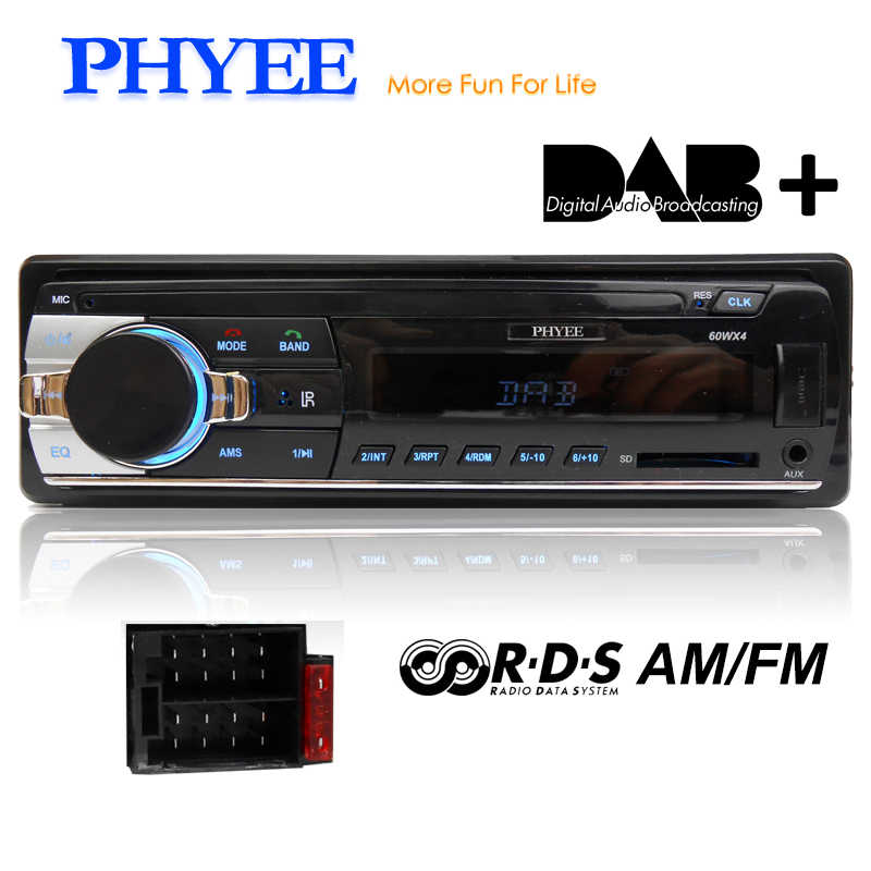 1 Din Car Radio DAB Autoradio Bluetooth Auto Audio Stereo RDS AM FM MP3 USB SD Aux-in In-dash ISO Head Unit PHYEE SX-MP3520DAB