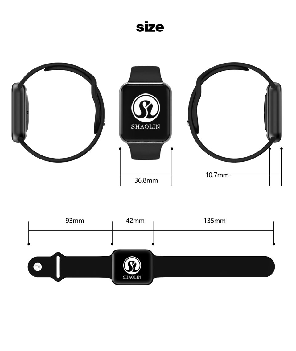 SHAOLIN Bluetooth Smart Watch Heart Rate Monitor Smartwatch Wearable Devices for apple watch iPhone IOS and Android Smartphones-14