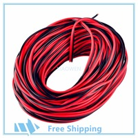 10m 20m 50m 100m 22AWG 2 Pin Red Black Cable PVC Insulated Wire Electric Cable LED