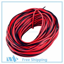 10m 20m 50m 100m 22AWG  2 pin , Red Black cable, PVC insulated wire,Electric LED DIY Connect