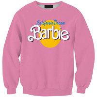 Tracksuits 2015 Fall Men Women Pullover Pink Hoodies 3D Letter BARBIE Graphic Print Crewneck Sweatshirt Long
