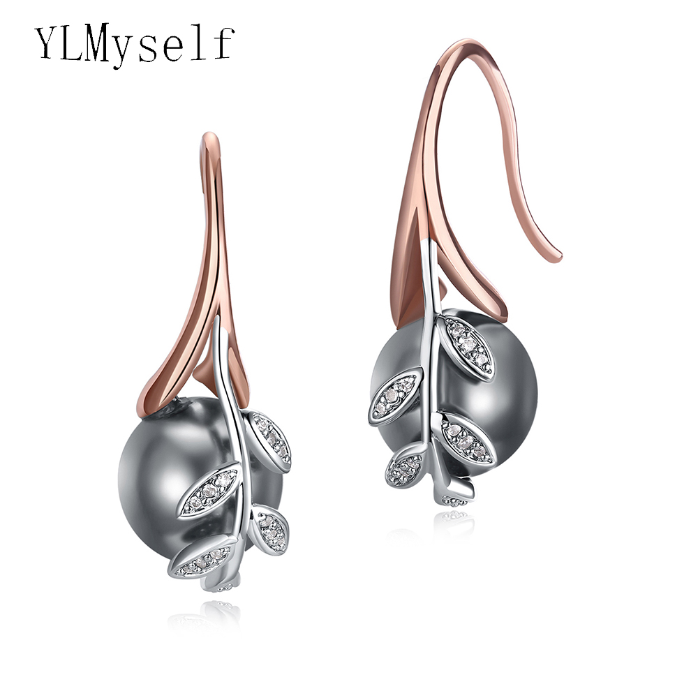 Dropshipping rose gold plate pave grey pearl cubic zircon crystal Wholesale cheap jewelry lots Dangling earrings