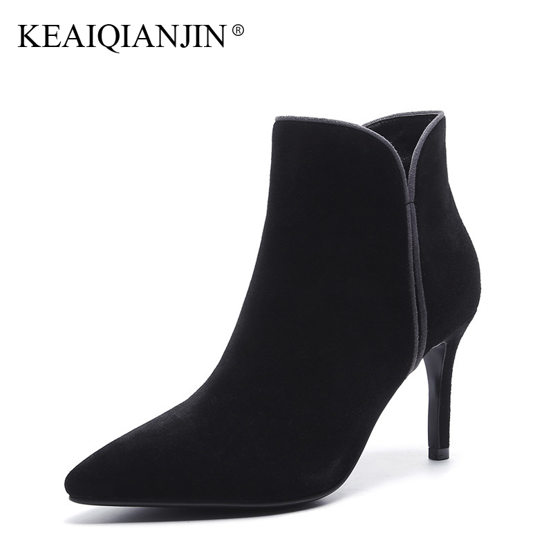 KEAIQIANJIN Woman Pointed Toe Ankle Boots Black Gray Autumn Winter Genuine Leather High Heeled Shoes Fashion Sheepskin Boots lovexss genuine leather ankle boots autumn winter high heeled pointed toe cow leather woman work boots black shoes 34 40
