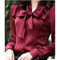 2017 mulheres blusas venda quente de outono nova-manga longa com decote em v camisa chiffon feminino das mulheres magro clothing s-xxxl