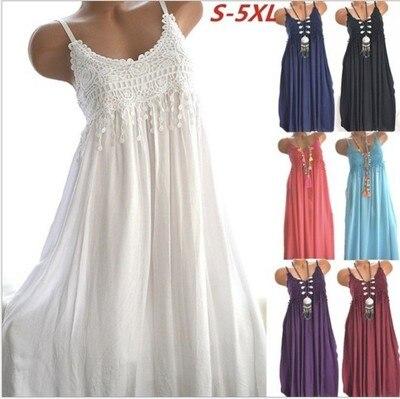 Women Summer Beach Dress Spaghetti Staps Lace Stitching Long Dresses thumbnail