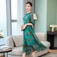 Asian Size 2019 new summer hangzhou embroidery faux silk dress plus size robe gowns fiesta de vestidos VKDR2012