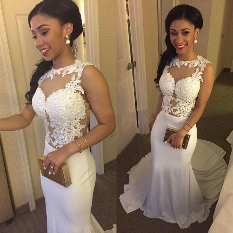 White See Through Tattoo Women Prom Gowns Prom Dresses Long Sexy