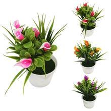 лучшая цена 1Pc Potted Artificial Flower Bonsai Stage Garden Wedding Home Party Decor Props Artificial Plants