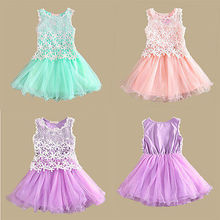 2015 Kids Baby Girls Fancy Lace Flower Tulle Gown Party Dress Tutu Dresses 2 8Y