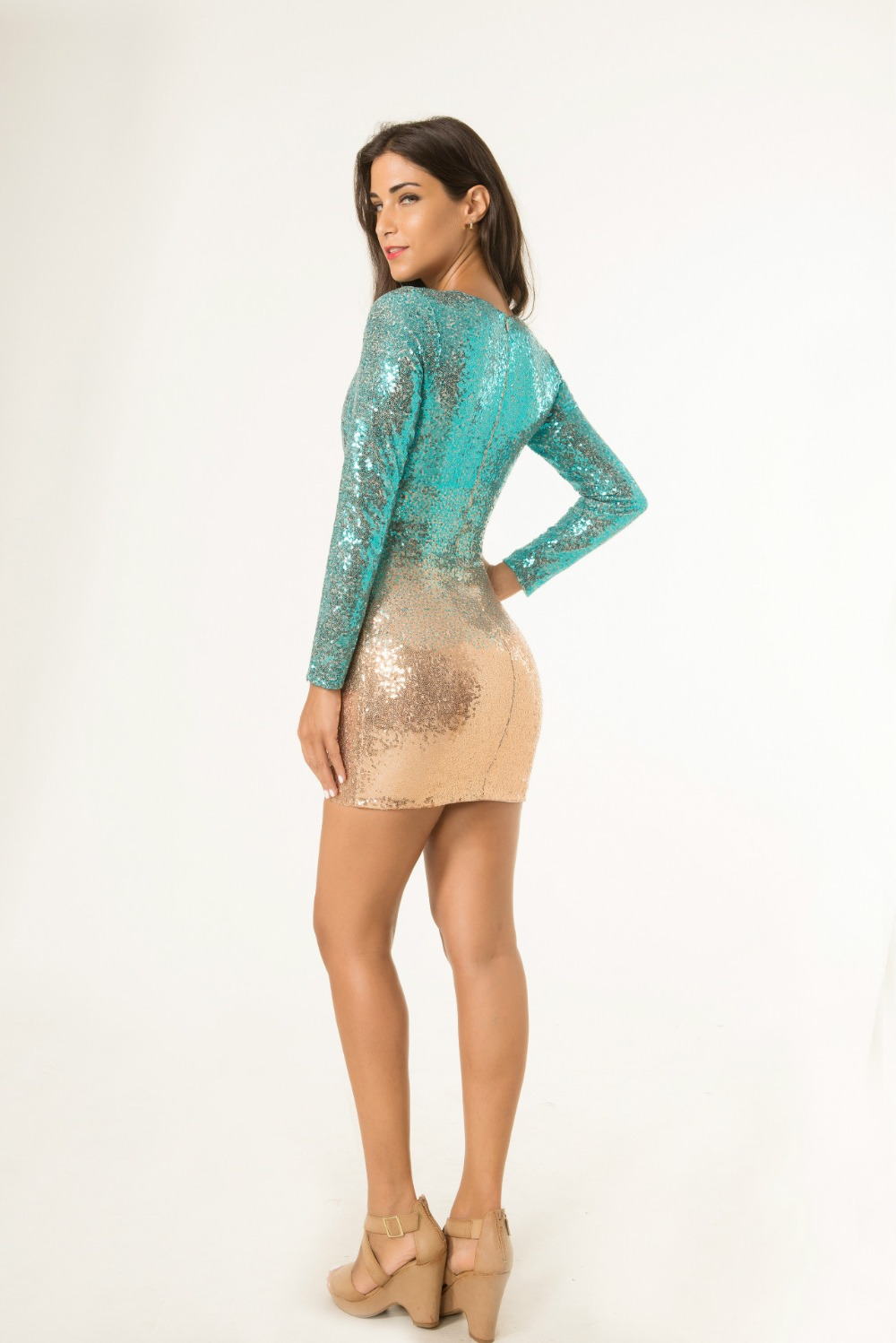 OMILKA 2017 Hot Autumn Women Long Sleeve O Neck Sequin Bodycon Dress Sexy  Gradient Blue Gold Glitter Club Mini Sequined Dress-in Dresses from Women s  ... c0ecadab4bc3