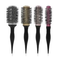 4 Color Round Ceramic Comb Temperature Resistant Barrel Nylon Hair Brush Salon Professional Hairdressing Brush Hair Curling Tool
