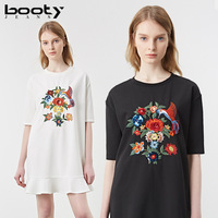 BOOTYJEANS 2017 New Design Cute Leaf Bottom White Black Color Women's Summer Flower Embroidered Dress All match O neck clothing