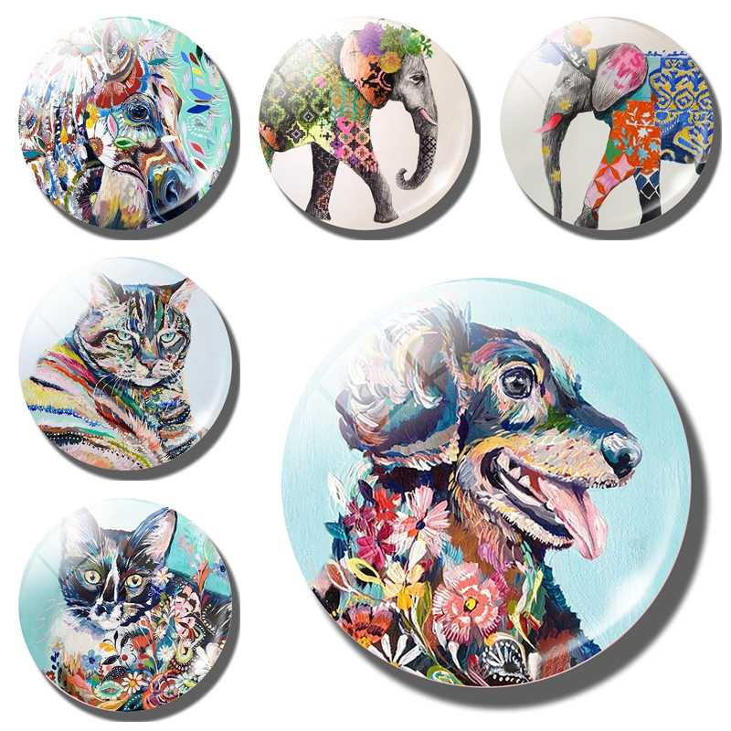 Art Oil Painting Animal Fridge Magnet Dog horse Elephant Cat Glass Magnetic Refrigerator Sticker message board Home Decoration