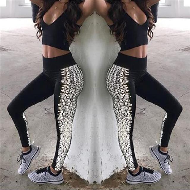765d7ad8149a84 Sexy Yoga Hosen Frauen Fitness Leggings Strumpfhosen Black & White Hohe  Taille Leggins Running Sportlich Workout