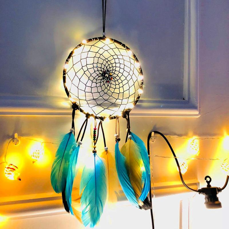 Wind Chimes Dream Catcher Feather String Light Net Ornaments Home Wall Hanging DIY Craft Gift Home Decoration 2019 in Wind Chimes Hanging Decorations from Home Garden
