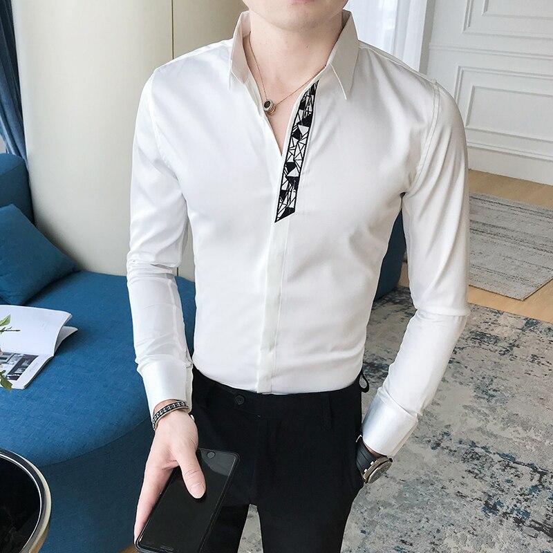 Jesień koszule męskie haft dżentelmen wysokiej jakości  ojGLe