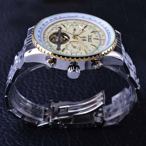 Image 4 - Jaragar Aviator Serie Militär Skala Gelb Elegante Zifferblatt Tourbillon Design Herren Uhren Top marke Luxus Automatische Armbanduhr