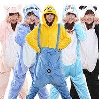 Unicorn Stitch Panda Unisex Flannel Hoodie Pajamas Costume Cosplay Animal Onesies Sleepwear For Men Women Adults