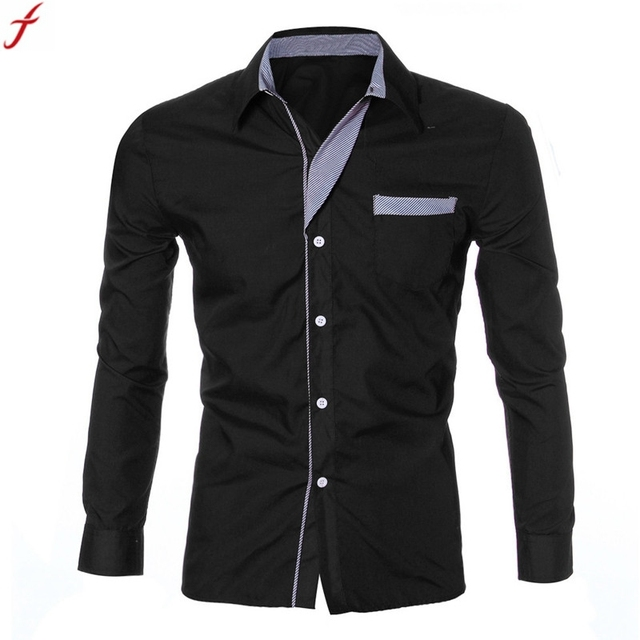 c54f40bc7bf4 2017 New Fashion Casual Men Shirt Long Sleeve Trend Slim Fit Men Solid Color  High Quality