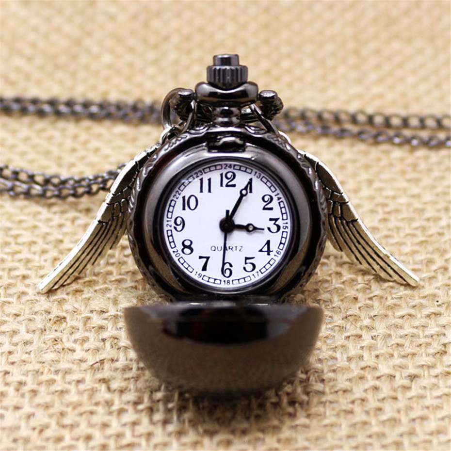 Fashion Black Snitch Pocket Watch With Necklace Chain Quidditch For Men Women Retro Clock Gifts To Kids Girls Free Shipping