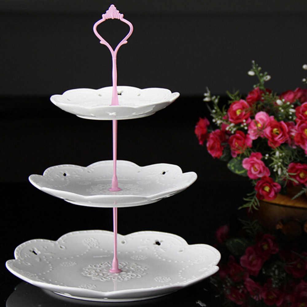 2/3 camada de plástico bolo placa suporte chá da tarde casamento placas festa talheres bolo loja dois/três camada bolo rack não placas