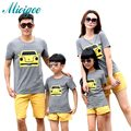 Family look matching mother daughter clothes sets 2017 summer dad mother son outfits cartoon yellow car leisure suit kids stes