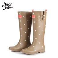 Women Fashion Rain Boots Printing Polka Dot Ladies Rubber MIid Calf Heels Waterproof Buckle Rainboots 2016